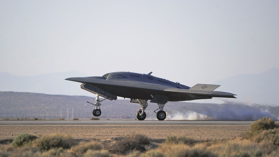 The aircraft, which is designed by defence firm Northrop Grumman,  flew for the first time on 4 February 2011 at Edwards Air Force Base in California. (Copyright: US  Air Force)