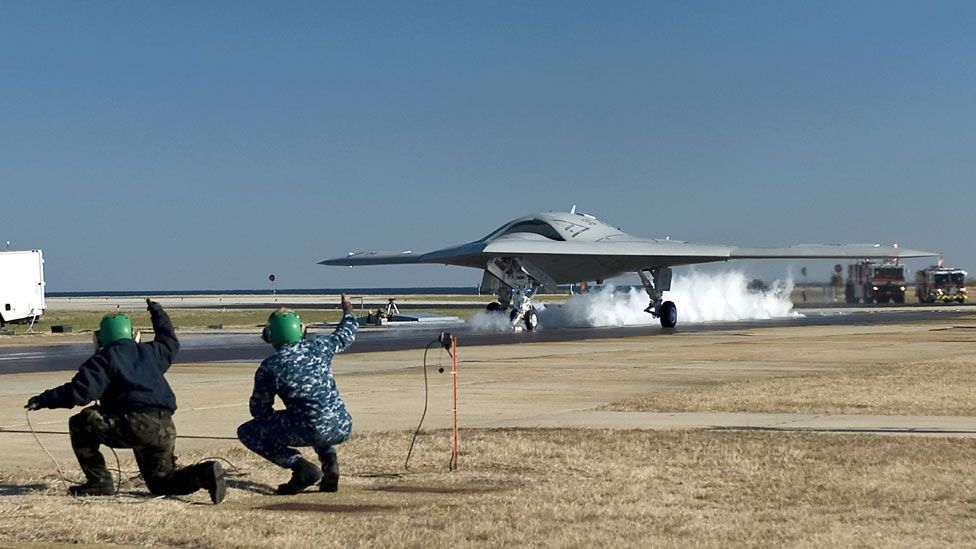 """The flight tests included so-called """"assisted take-offs"""" using a catapult system similar to those used onboard aircraft carriers. (Copyright: US Navy)"""