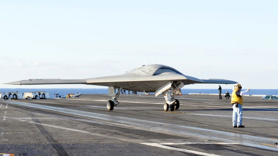 """It will then attempt an """"arrested landing"""" later in the year, where it will be brought into land on the deck of the carrier. (Copyright: Northrop Grumman)"""
