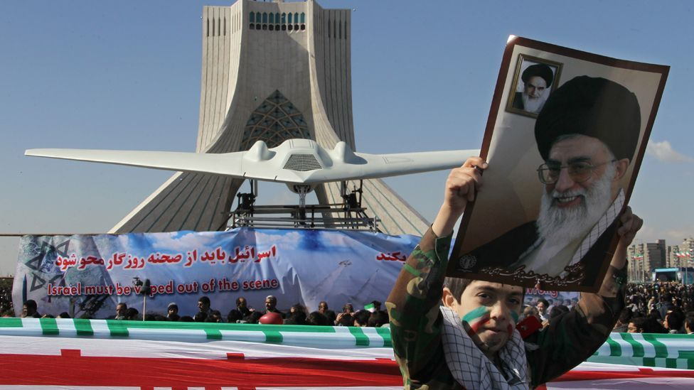 One of the US military's most sophisticated drones, the RQ-170, was captured by Iran, with replicas paraded in front of crowds in the capital Tehran. (Copyright: AFP/Getty Images)