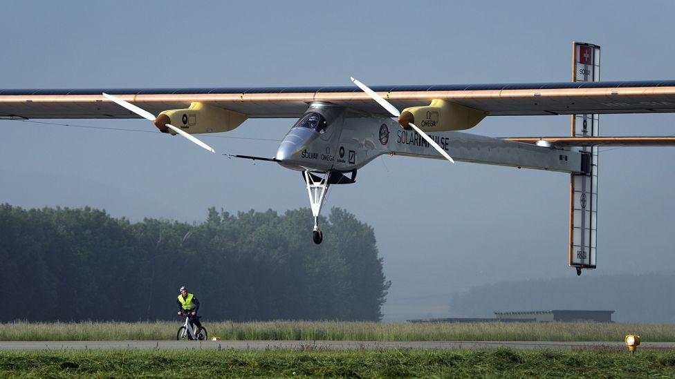 In June, the sun-powered Solar Impulse completed its first intercontinental flight, flying a 19-hour trip from Madrid in Spain to Rabat in Morocco. (Copyright: AFP/Getty Images)