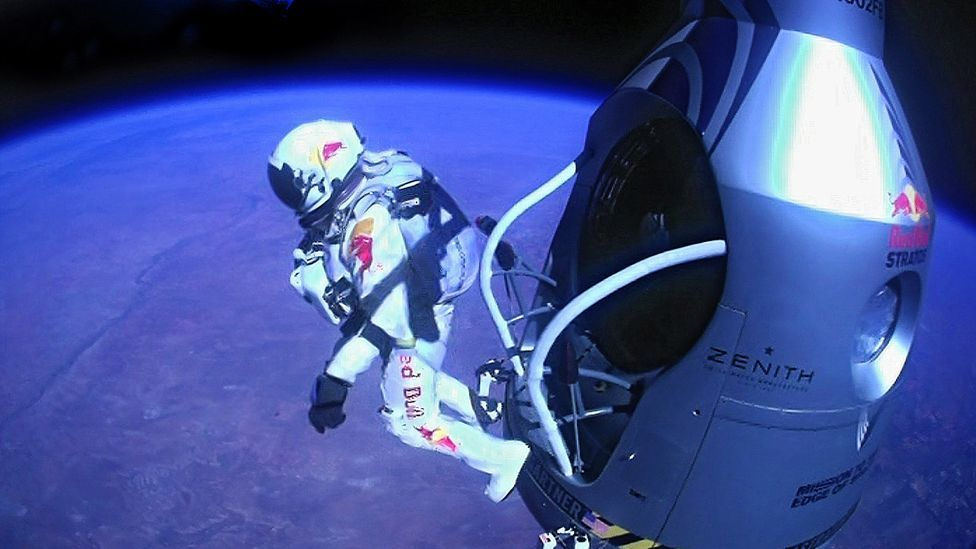 Austrian Felix Baumgartner leaped from a balloon at 39km (24 miles) in October to set records for the highest parachute jump and fastest free-fall. (Copyright: AP/Red Bull Stratos)