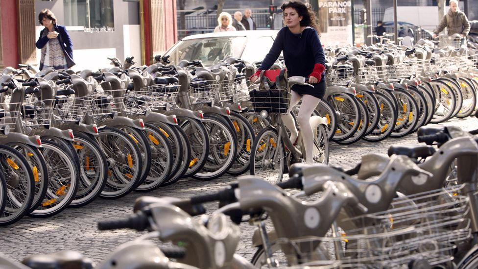 The Velib bicycle rental scheme, which began in Paris, has been copied in many cities worldwide. (Copyright: Getty Images)