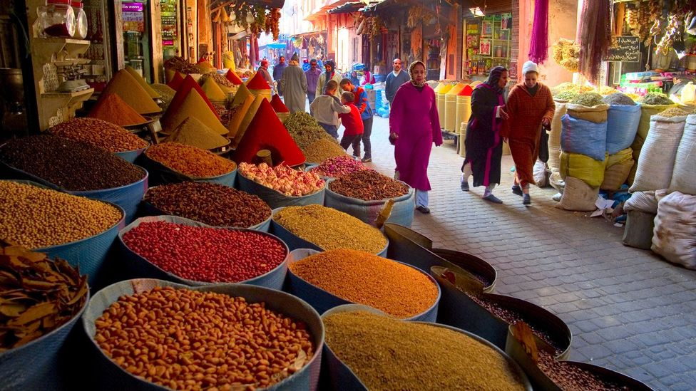Local cookery courses in Marrakesh often include a visit to the local souk to buy herbs and spices. (Jean-Pierre Lescourret/LPI)