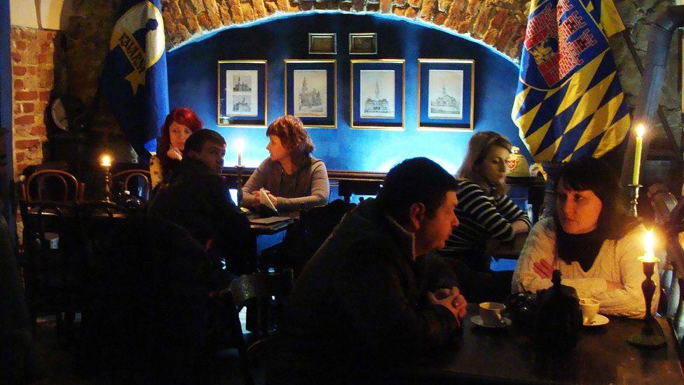 Under the Blue Bottle coffee house, Lviv, Ukraine. (Kostyantyn Smolyaninov)