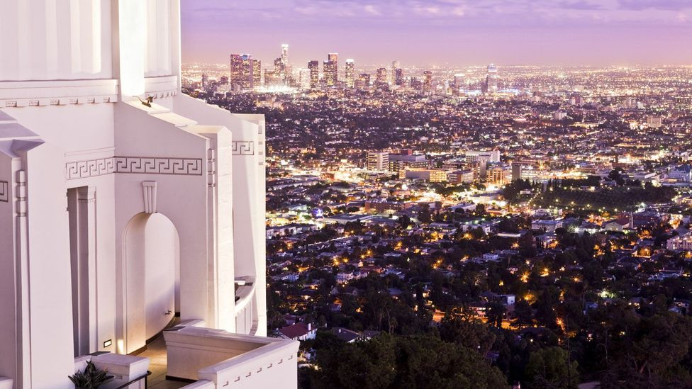 Griffith Observatory and downtown Los Angeles at dusk. (Eddie Brady/LPI)