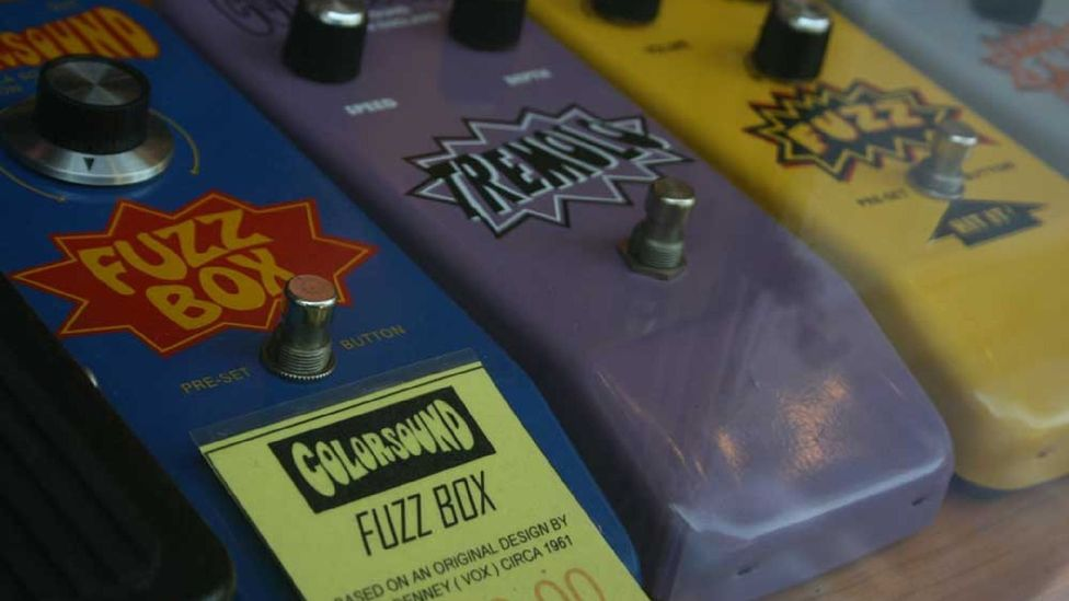 Colorsound Fuzz Boxes at Macari's music shop on Denmark St. (Paul Bloomfield)