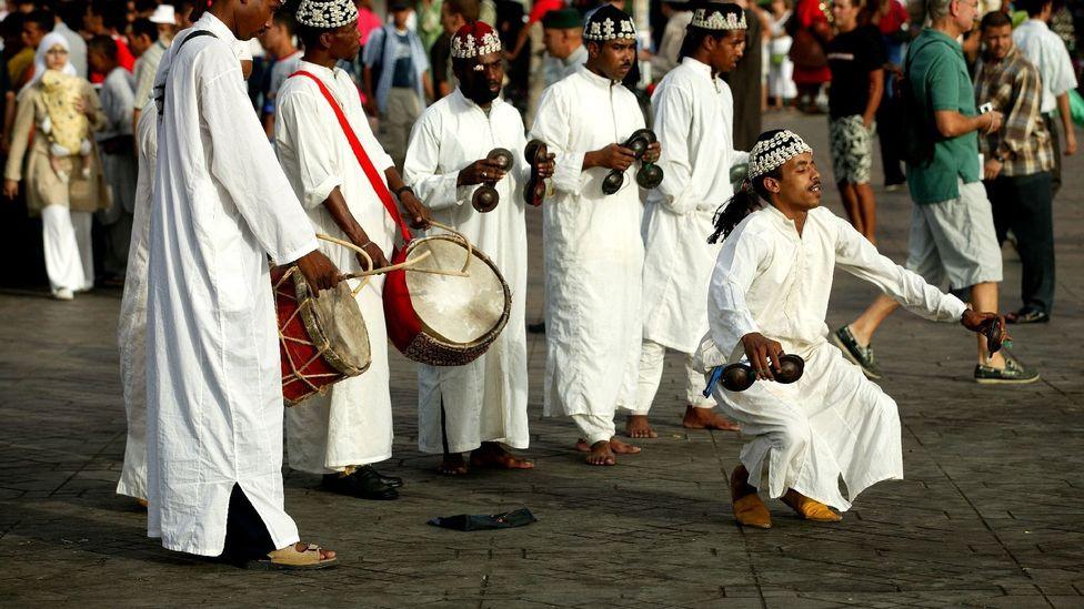Moroccan Gnaoua dancers in Marrakesh's Djemaa el-Fna. (Doug McKinlay/LPI)