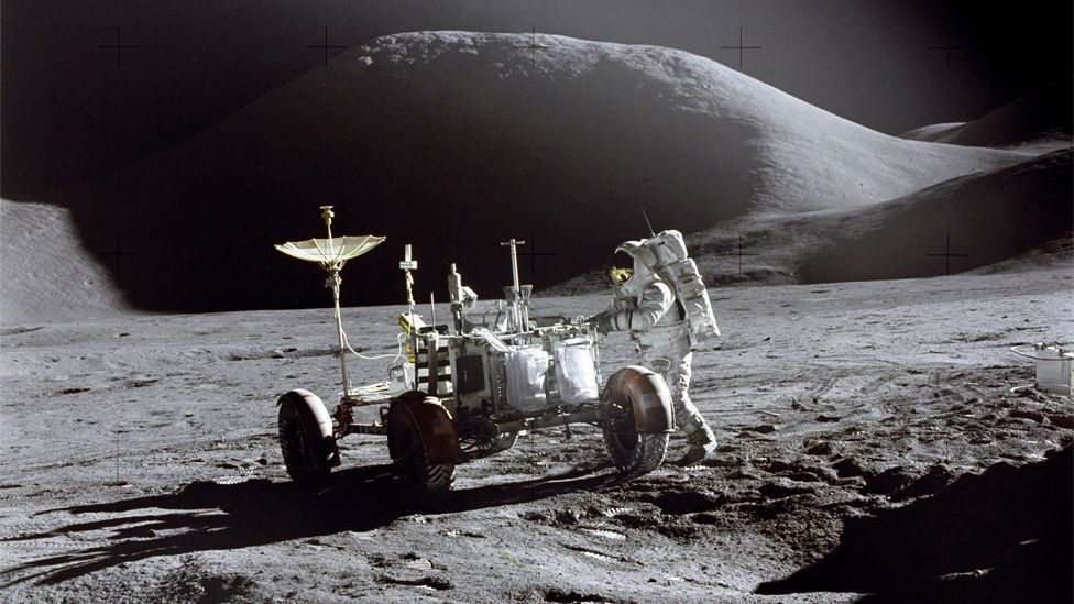 Apollo 15 was the first of the 'J missions', with long stays on the Moon and a greater focus on science. It was also the first mission to use a Lunar Rover. (Copyright: Nasa)