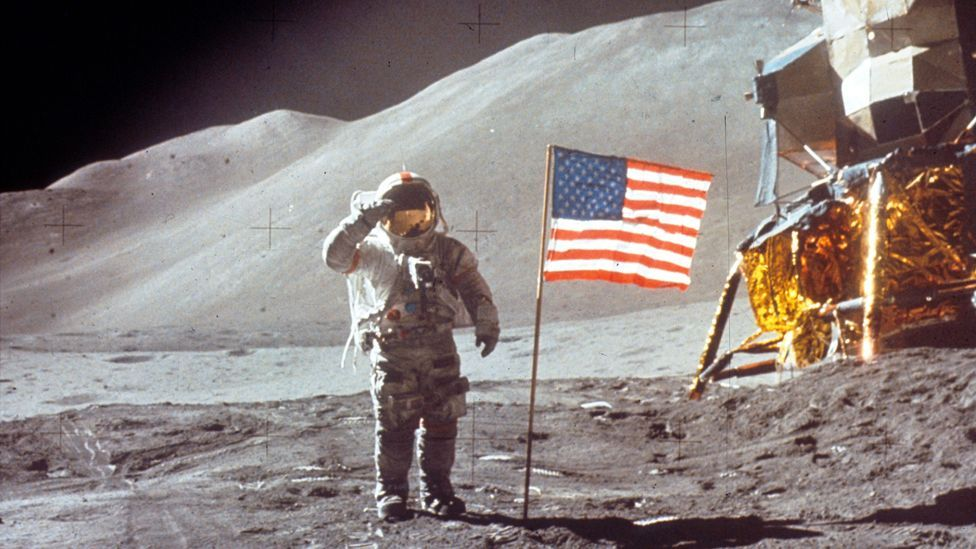 The two astronauts spent nearly three days on the Moon, of which nearly one third was spent outside the Lunar Module Falcon (Copyright:  Nasa)