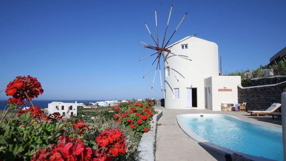 windmill, villa, Santorini, Greece, hotel