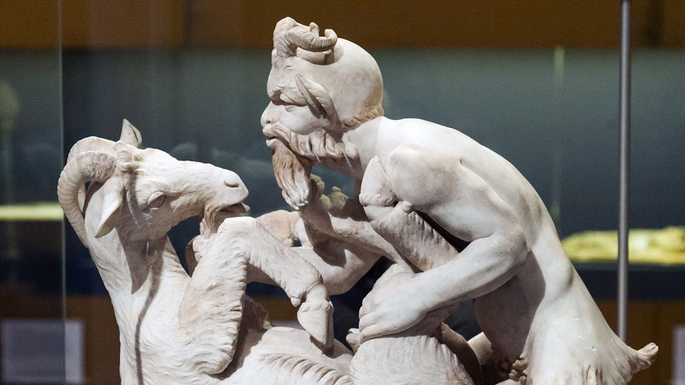 One of the most infamous art works in antiquity, this statue of Pan and a female goat was uncovered in Herculaneum in 1752. (Ray Tang/Rex Features)