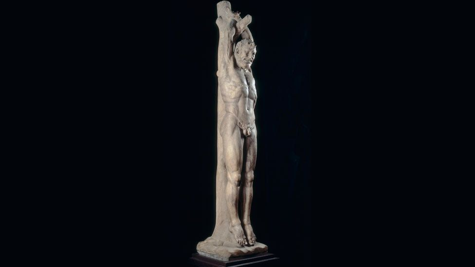 One of several surviving sculptures of the satyr Marsyas. He is bound to a tree and flayed after losing a musical contest with the god Apollo. (Alinari Archives/Corbis)