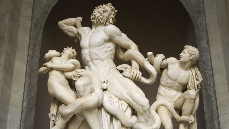 This moving marble sculpture shows Trojan priest Laocoon and his sons struggling to escape from snakes sent by Poseidon to strangle them. (David Pearson/Rex Features)