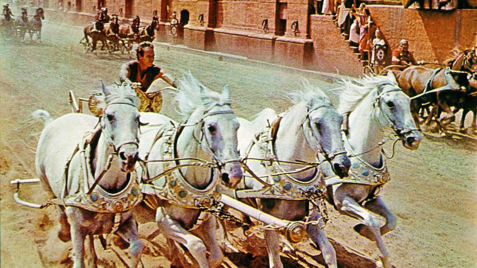 Ben-Hur, starring Charlton Heston is one of the most iconic films of the 1950s. The film's chariot race and crowd scene have entered the popular imagination. (Rex Features)
