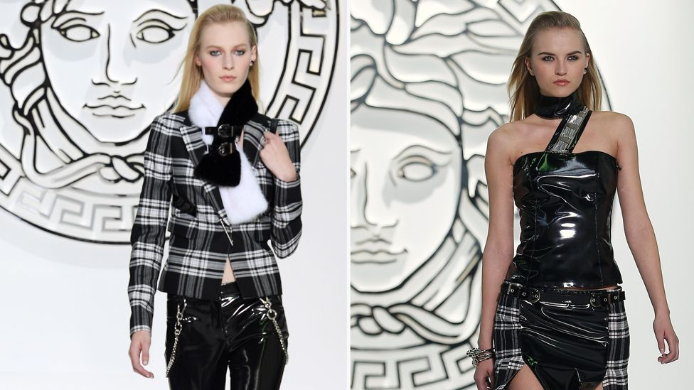 Leather and dominatrix influences were key elements of punk's subversive look, and were adopted by Versace for their autumn/winter 2013 look. (Corbis)