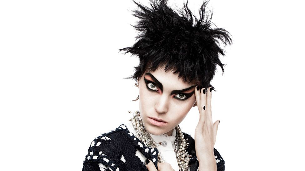 Chanel adopted the movement's confrontational influences in 2011 with chains, choppy hair styles and dark, exaggerated eye make-up. (David Sims)