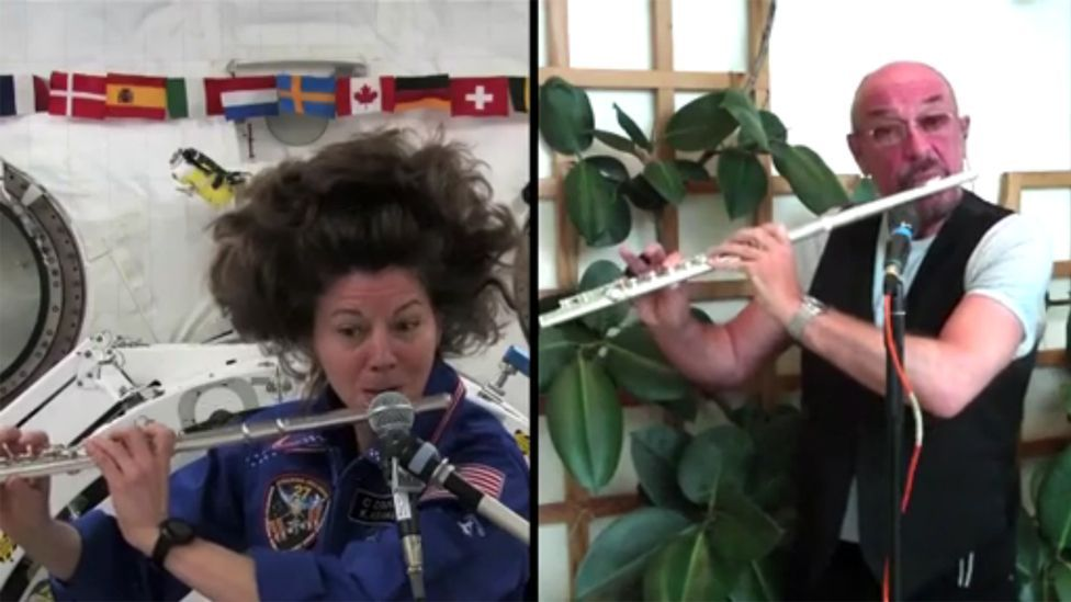 In 2011, US astronaut Cady Coleman took her flute into space and played a live link-up with prog rock lip-purser Ian Anderson of Jethro Tull, fluting from Russia. (Copyright: Nasa)