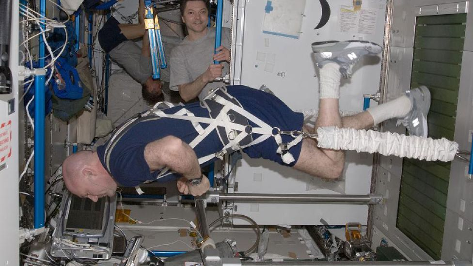 """Music's an important part of keeping fit. """"On exercise equipment,"""" she says, """"I couldn't live without having music,"""" says astronaut Cady Coleman. (Copyright: Nasa)"""