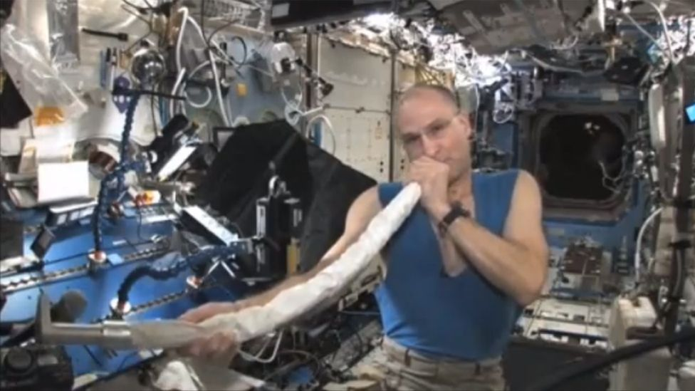 Astronaut Don Pettit can lay claim to another space musical first – creating the first didgeridoo in space, using the ISS's vacuum cleaner. (Copyright: Nasa)
