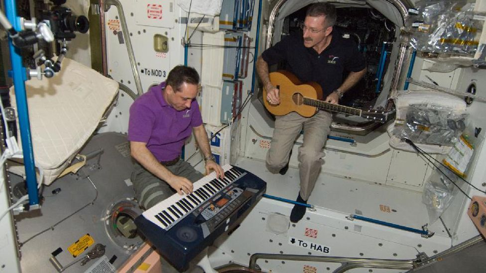The ISS currently boasts a keyboard and a ukulele on board, allowing talented space travellers to bash out a tune amid their other cosmic duties. (Copyright: Nasa)