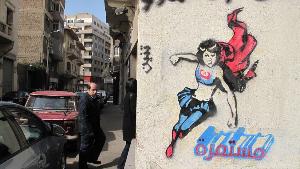 Revolution Girl by street artist El Teneen is typical of the political but accessible imagery that is now widespread in the cities of Egypt. (Mia Gröndahl)