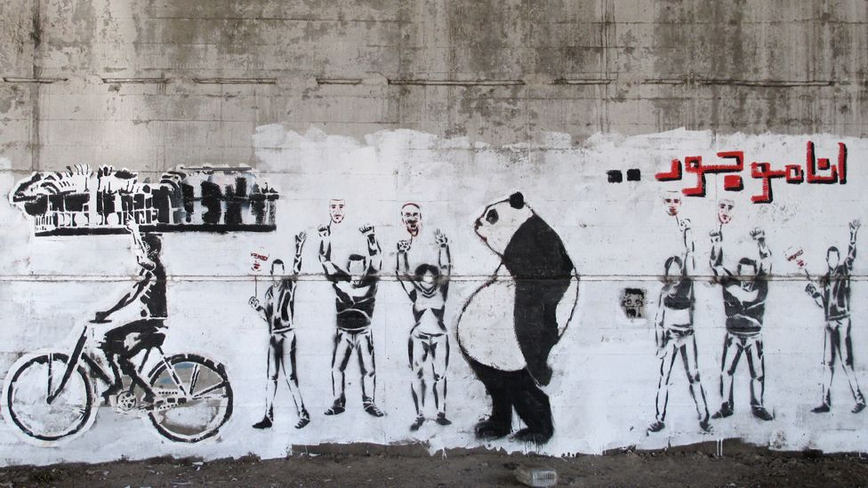 Sad Panda has become a recurring, satirical motif in Egyptian street art, and turns up in numerous locations across the urban landscape. (Mia Gröndahl)