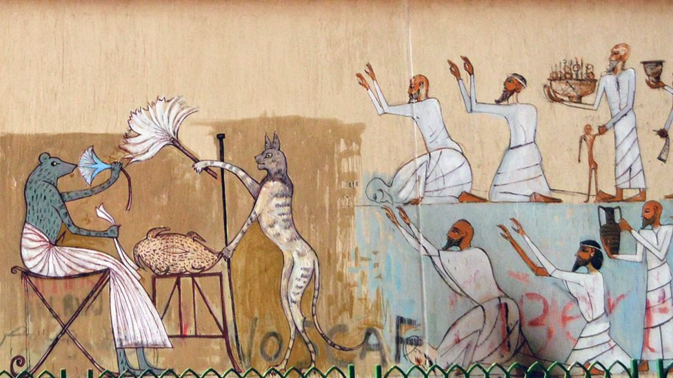 Awad's hybrid creatures are inspired by ancient Egyptian art, yet also seem to spring from the contemporary nation's psyche.(Alaa Awad)