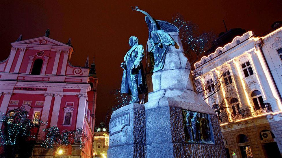 A monument of Slovenia's national hero France Presern in Ljubljana.