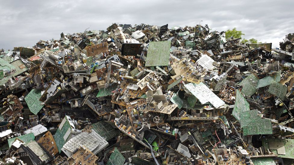 The West exports some of its waste in the form of junked electronic equipment, which adds to landfill issues in developing countries. (Copyright: Science Photo Library)