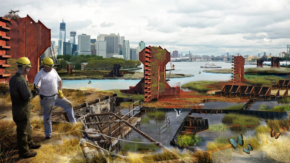 One of Terreform ONE's plans  is to use parts of derelict ships to create a kind of buffer reef to help protect cities from the effect of storms. (Copyright: Terreform ONE)