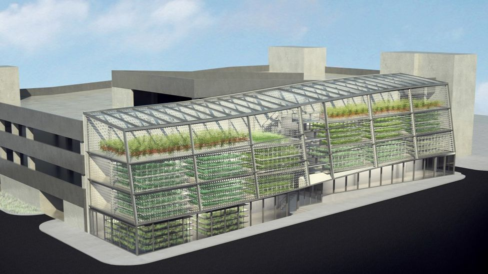 Vertical Harvest's three-storey-tall hydroponic greenhouse is expected to produce an annual yield of 40 tonnes of fruit and vegetables a year. (Copyright: Vertical Harvest)