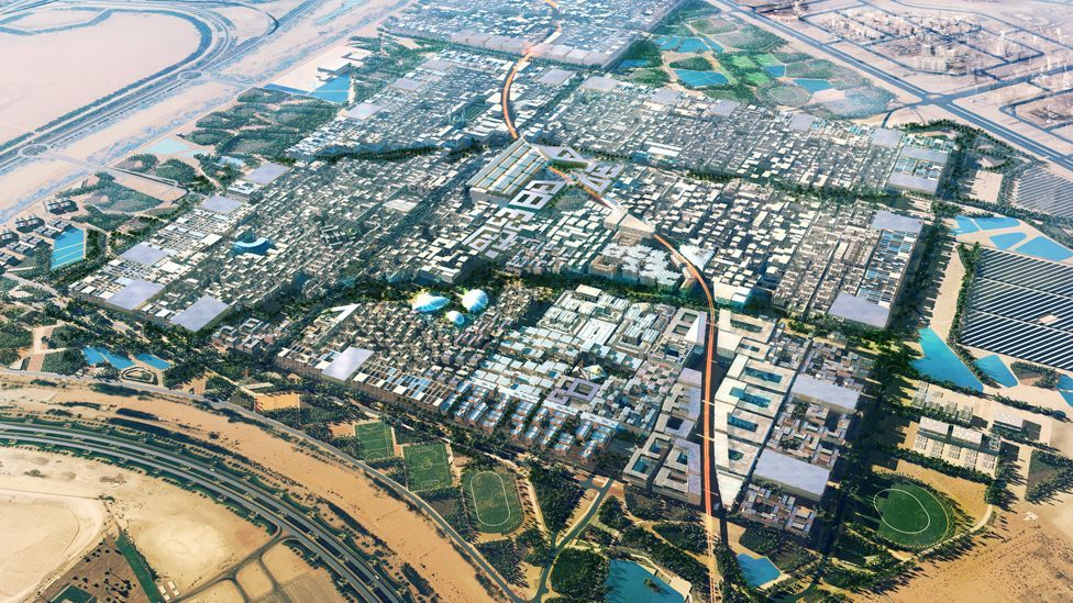 The ambitious Masdar City is intended to be energy-sufficient. The Abu Dhabi city will use solar energy and other renewables , and will be car-free. (Copyright: Masdar City)