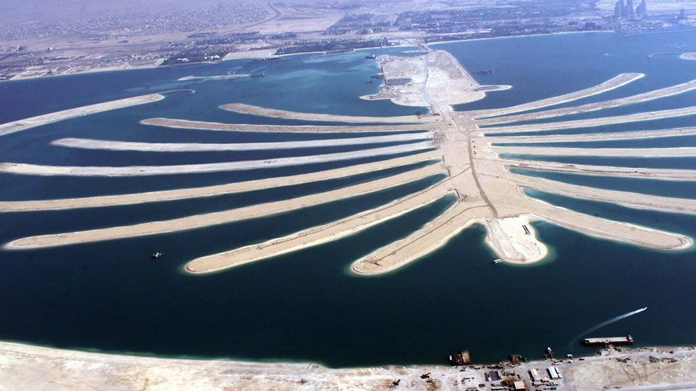 Some countries are reclaiming land from the sea. The Palm Islands are an artificial archipelago in Dubai, off the coast in the Persian Gulf. (Copyright: Getty Images)