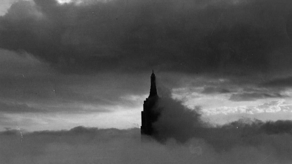 On 28 July 1945 a bomber flying through fog smashed into the offices on the 79th and 80th floors, killing fourteen people. (Getty Images)
