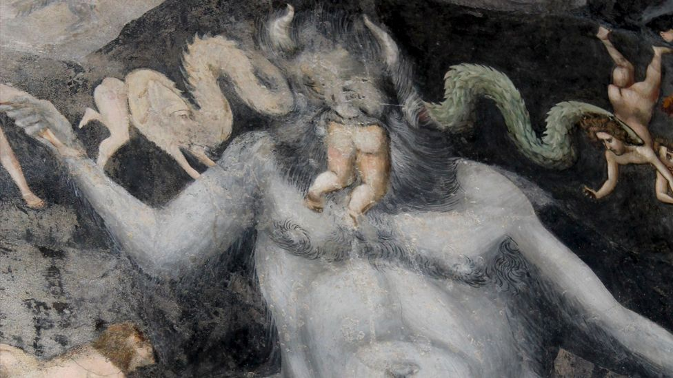 Among the figures in Giotto's vast fresco cycle in the Arena Chapel in Padua is this pot-bellied Satan, munching on sinners.