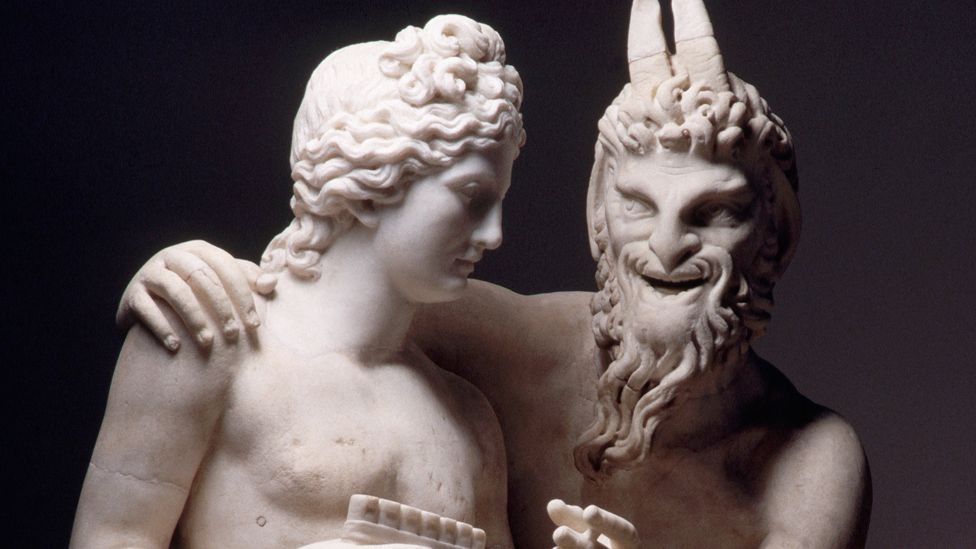 The Greek god Pan shares characteristics with the Christian Devil (a beard, hairy haunches, cloven feet) and Bes (lewd face, licentious conduct). (Corbis)