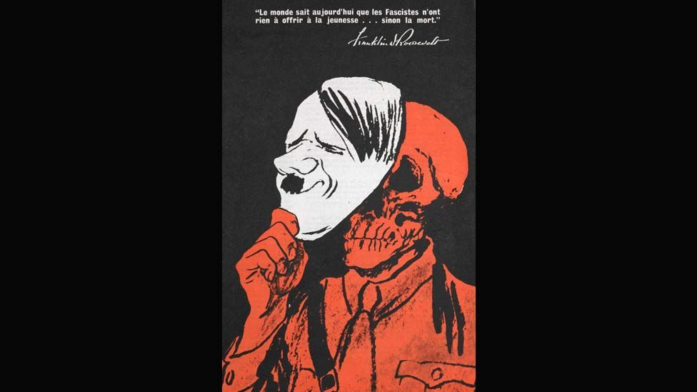 Franklin Roosevelt's message to young people, showing a Hitler mask and skull, was produced by the United States' office of war information in 1942. (Photo: British Library)