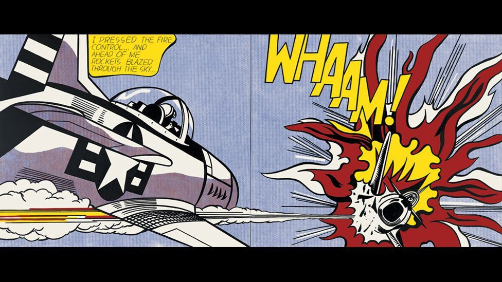 In 1962 Lichtenstein began interpreting images from the All-American Men of War comics. Whaam! from 1963 is one of his most celebrated works. (Photo: Centre Pompidou)