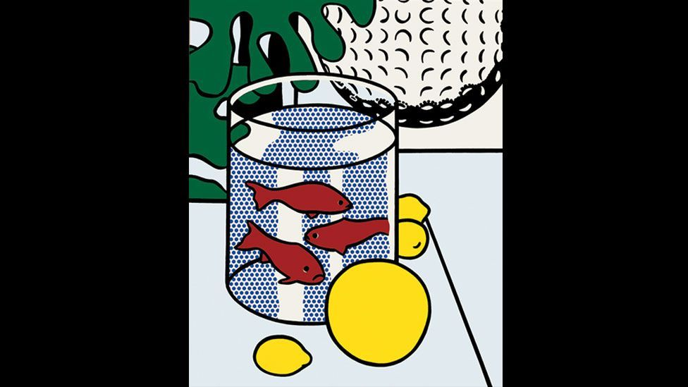 In the early '70s, Lichtenstein began to incorporate references to Matisse in his work, demonstrated in Still Life with Goldfish (1972). (Photo: Centre Pompidou)