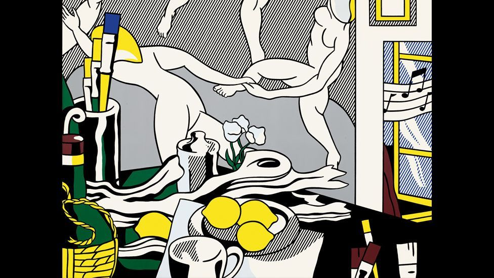 Lichtenstein began his Artist's Studio series in 1973, portraying some of his earlier works within the pictures, including Look Mickey. (Photo: Centre Pompidou)