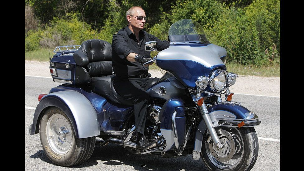 Displaying his macho credentials, Putin rode a Harley Davidson trike as he joined bikers at a convention near Sevastopol on Ukraine's Crimean Peninsula in 2010. (Getty Images)