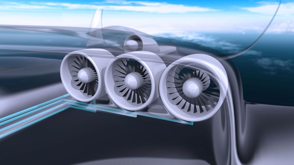 """Their """"distributed electrical power system"""" uses a single turbine engine towards the back of the aircraft, instead of several engines under the wings. (Copyright: EADS)"""