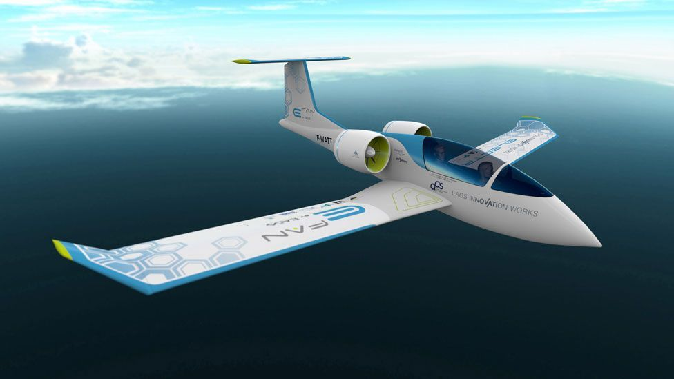 EADS is testing its hybrid technology on a smaller scale with a two-seater aircraft called the E-Fan. (Copyright: EADS)
