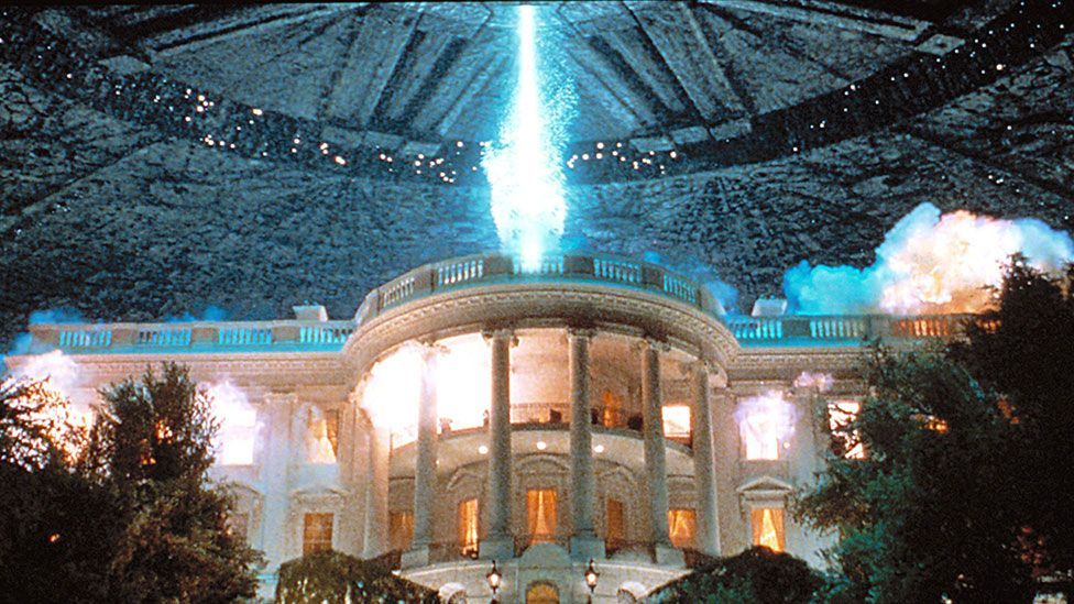 It is not the first time that Emmerich has blown up the White House on screen. The building was also laid to waste in his 1996 blockbuster, Independence Day. (Rex Features)