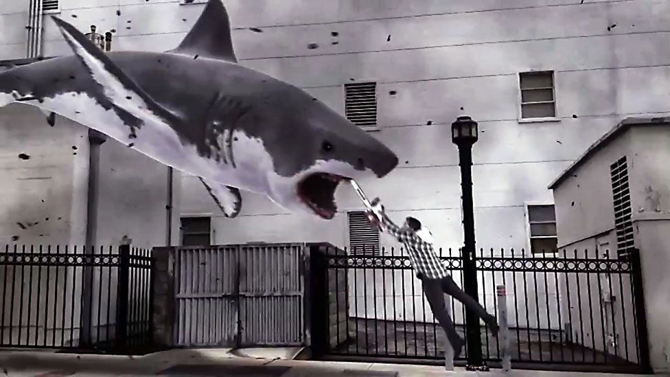 The made-for-TV disaster film Sharknado created a social media storm when it screened on US cable channel Syfy last month. (Syfy Channel)