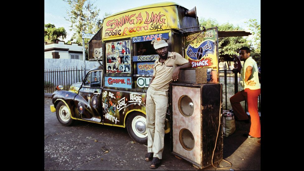 The Swingaling mobile record shack, Jamaica. Clive Campbell grew up watching rival sound systems battle for supremacy in the yards of Kingston. (Photo: Adrian Boot/urbanimage.tv)
