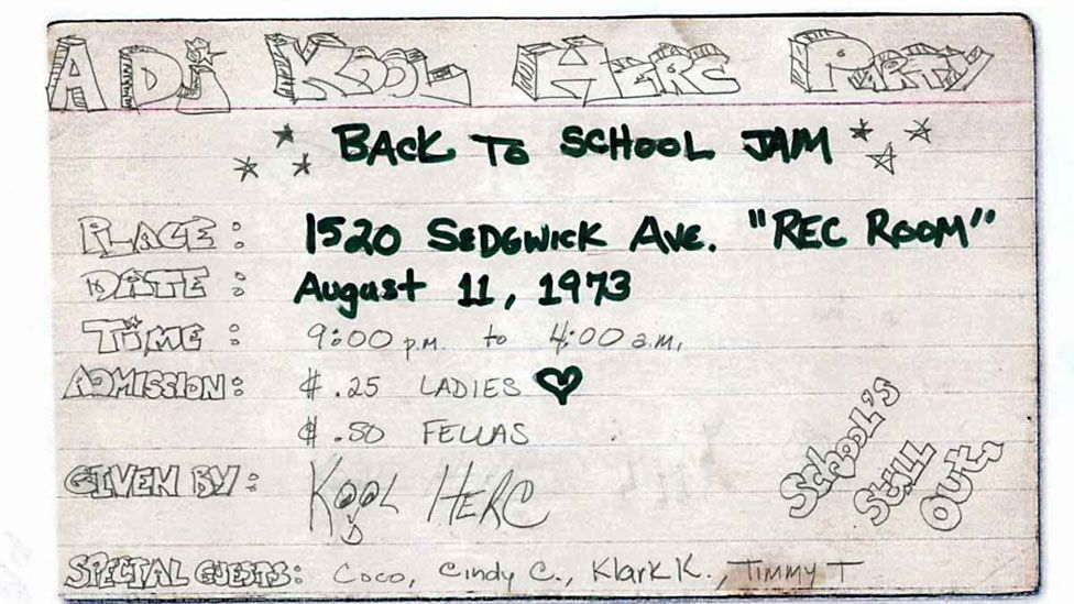 The original invitation for Cindy Campbell and DJ Kool Herc's 'back to school jam' on 11 August, 1973.