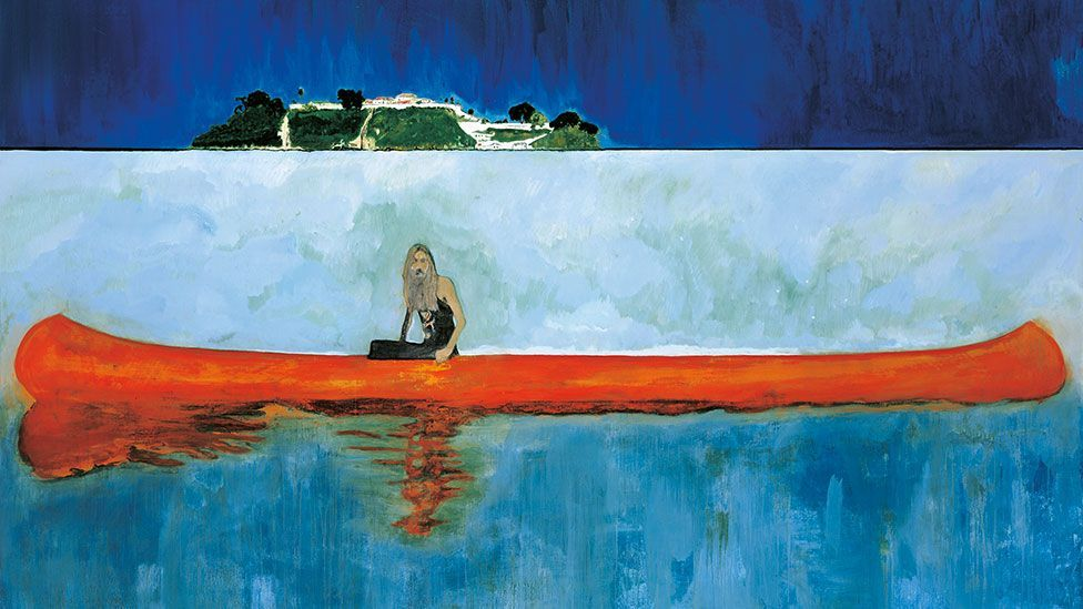 The pictures in the series 100 Years Ago feature a lone man in a canoe, gazing defiantly from the frame. Sometimes he is rendered in bold colours - other times, he is ghostly pale.