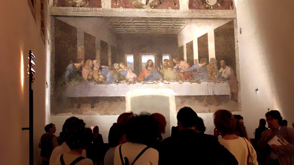 Leonardo's paintings are among the most famous in art history. The Last Supper (completed 1497) depicts Christ and his disciples at their final meal before the Crucifixon. (Corbis)